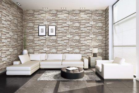 Modern Living Room stone walls